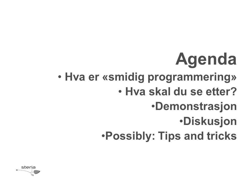 Agenda Hva er «smidig programmering» Hva skal du se etter? Demonstrasjon Diskusjon Possibly: Tips and tricks