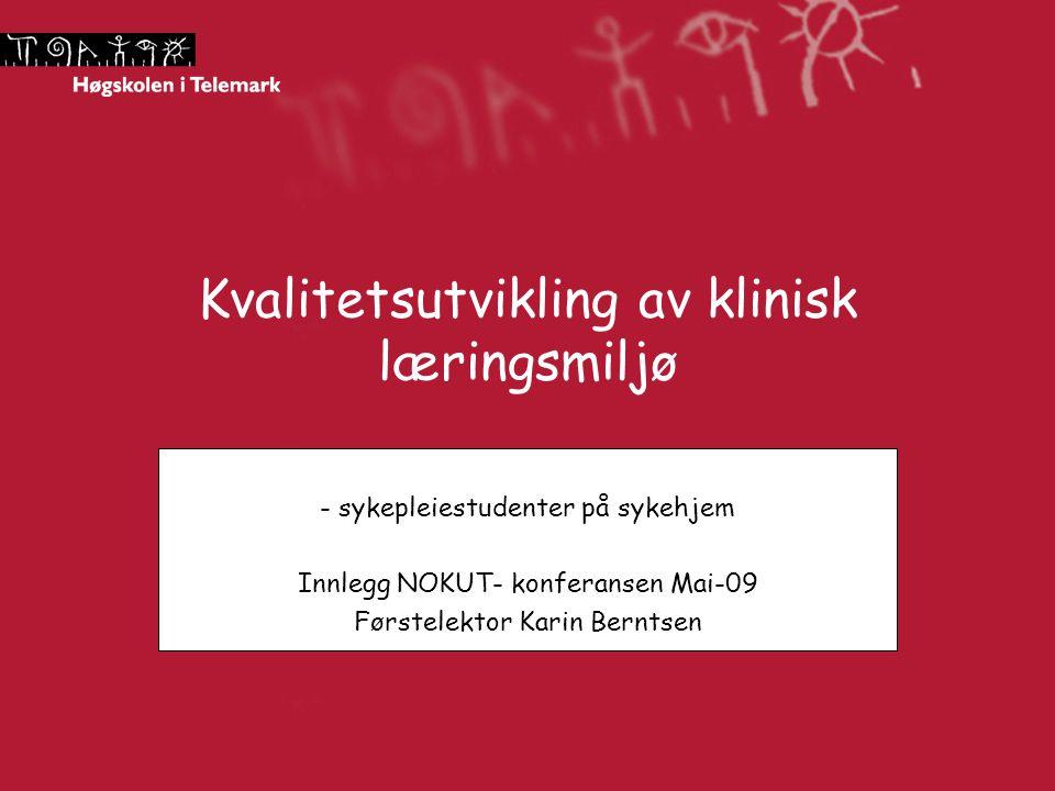 Kvalitetsutvikling av klinisk læringsmiljø - sykepleiestudenter på sykehjem Innlegg NOKUT- konferansen Mai-09 Førstelektor Karin Berntsen