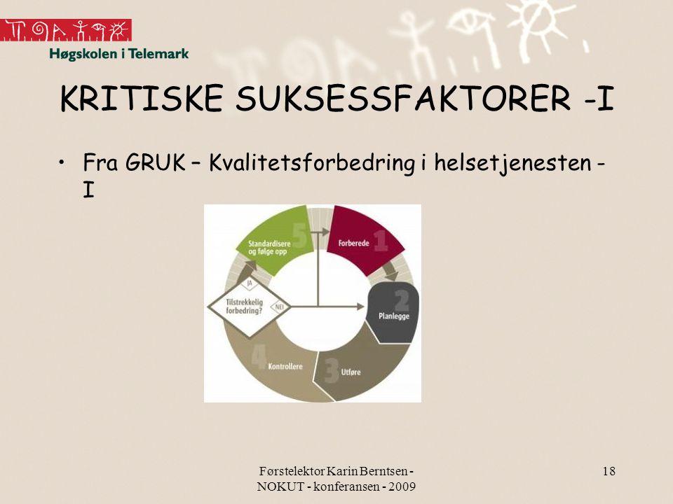 Førstelektor Karin Berntsen - NOKUT - konferansen - 2009 18 KRITISKE SUKSESSFAKTORER -I Fra GRUK – Kvalitetsforbedring i helsetjenesten - I