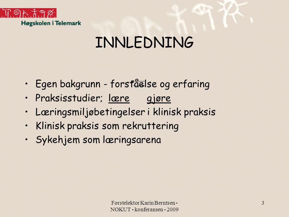 Førstelektor Karin Berntsen - NOKUT - konferansen - 2009 3 INNLEDNING Egen bakgrunn - forståelse og erfaring Praksisstudier; lære gjøre Læringsmiljøbe