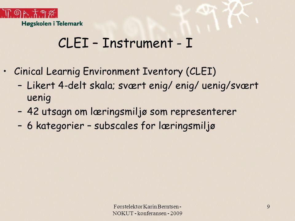Førstelektor Karin Berntsen - NOKUT - konferansen - 2009 9 CLEI – Instrument - I Cinical Learnig Environment Iventory (CLEI) –Likert 4-delt skala; svæ
