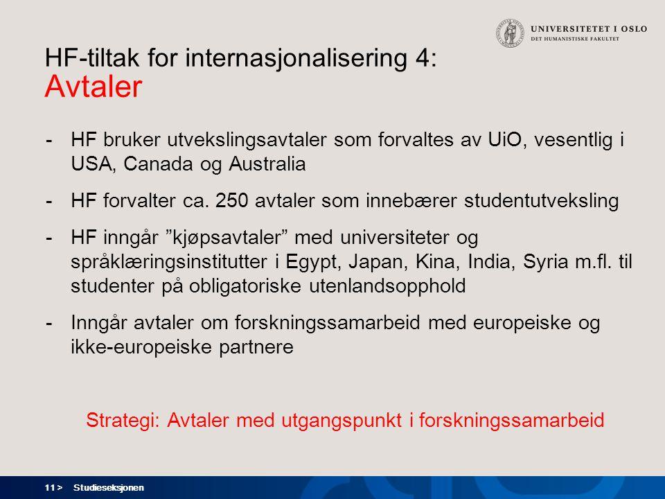 11 > HF-tiltak for internasjonalisering 4: Avtaler -HF bruker utvekslingsavtaler som forvaltes av UiO, vesentlig i USA, Canada og Australia -HF forvalter ca.