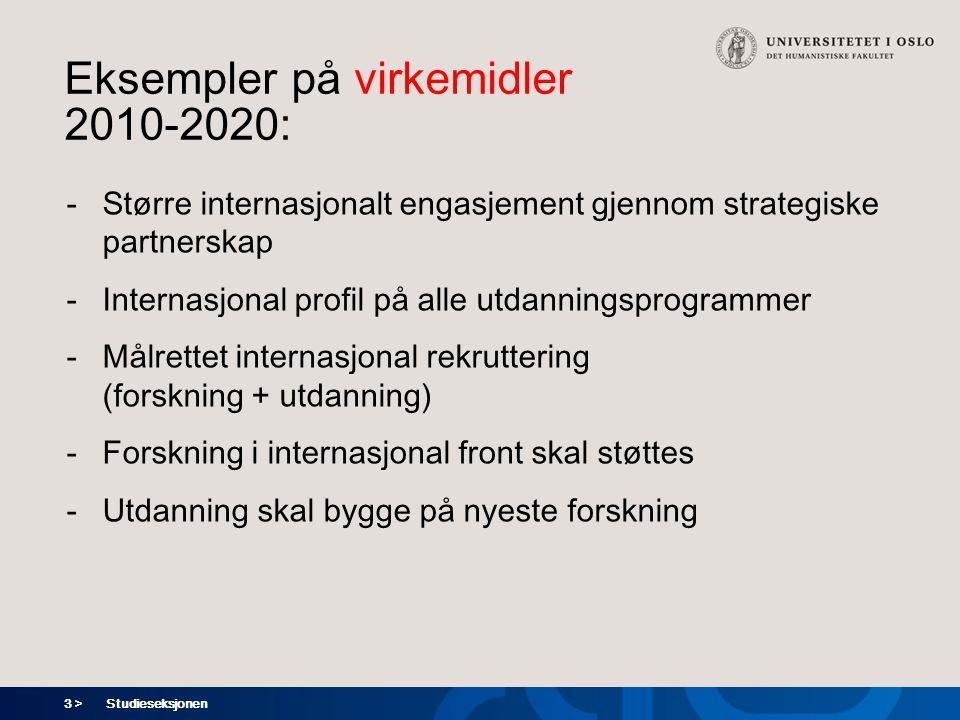 3 > Eksempler på virkemidler 2010-2020: -Større internasjonalt engasjement gjennom strategiske partnerskap -Internasjonal profil på alle utdanningsprogrammer -Målrettet internasjonal rekruttering (forskning + utdanning) -Forskning i internasjonal front skal støttes -Utdanning skal bygge på nyeste forskning Studieseksjonen