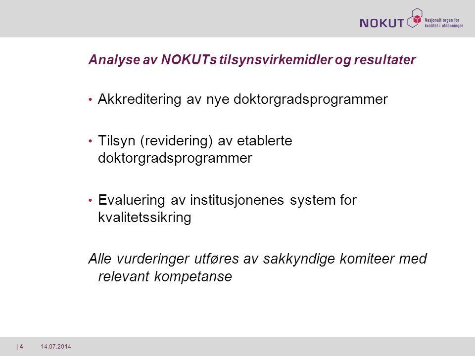 14.07.2014| 4 Analyse av NOKUTs tilsynsvirkemidler og resultater Akkreditering av nye doktorgradsprogrammer Tilsyn (revidering) av etablerte doktorgra