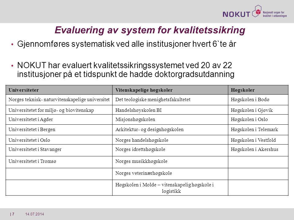 14.07.2014| 7 Evaluering av system for kvalitetssikring Gjennomføres systematisk ved alle institusjoner hvert 6`te år NOKUT har evaluert kvalitetssikr