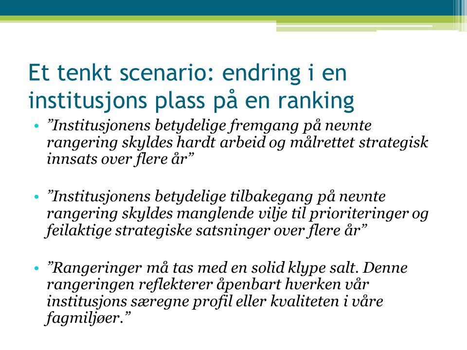 """Et tenkt scenario: endring i en institusjons plass på en ranking """"Institusjonens betydelige fremgang på nevnte rangering skyldes hardt arbeid og målre"""