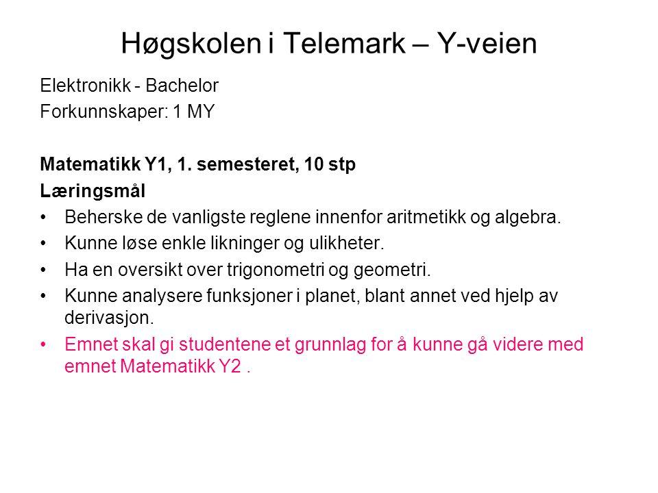Høgskolen i Telemark – Y-veien Elektronikk - Bachelor Forkunnskaper: 1 MY Matematikk Y1, 1. semesteret, 10 stp Læringsmål Beherske de vanligste reglen