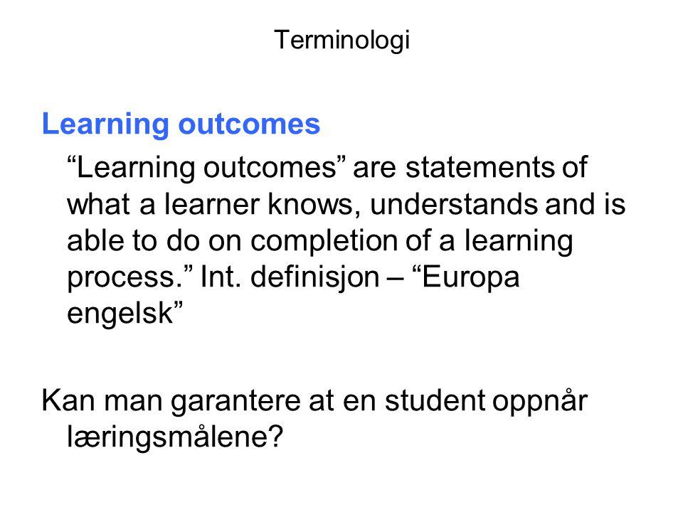 European Qualification Framework for lifelong learning Det europeiske kvalifikasjonsrammeverket for livslang læring Kunnskaper (teoretiske og/eller faktaorientert) Ferdigheter (kognitive og praktiske) Kompetanse (evne til å ta ansvar og være selvstendig) Relevant læringsutbytte for nivå 5 - allsidig, spesialisert, faktuell og teoretisk kunnskap innenfor et arbeidsområde eller studium og bevissthet om grensene for denne kunnskapen.