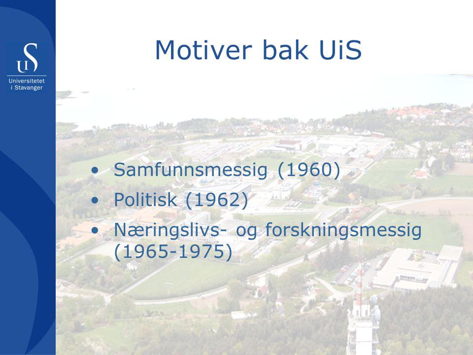 Motiver bak UiS Samfunnsmessig (1960) Politisk (1962) Næringslivs- og forskningsmessig (1965-1975)