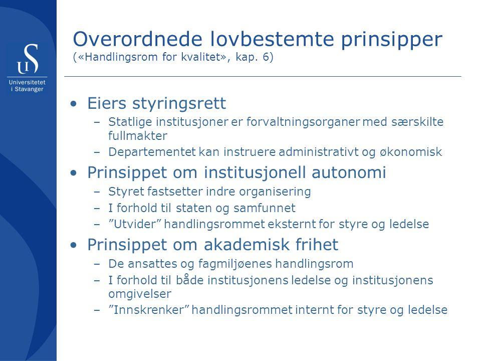 Overordnede lovbestemte prinsipper («Handlingsrom for kvalitet», kap.