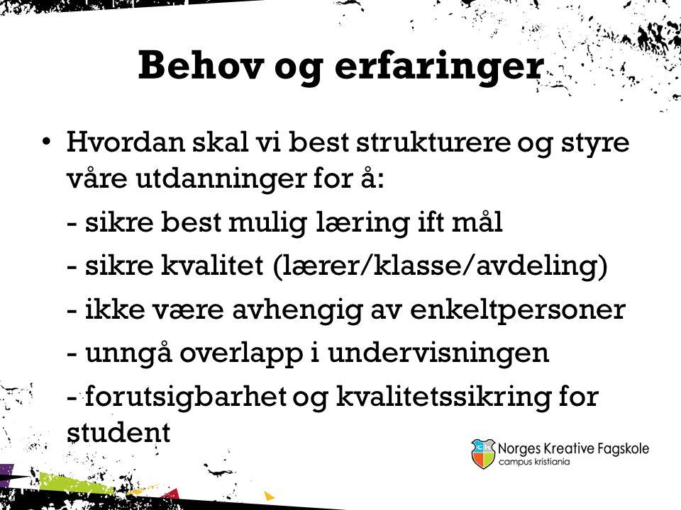 Behov og erfaringer Hvordan skal vi best strukturere og styre våre utdanninger for å: - sikre best mulig læring ift mål - sikre kvalitet (lærer/klasse