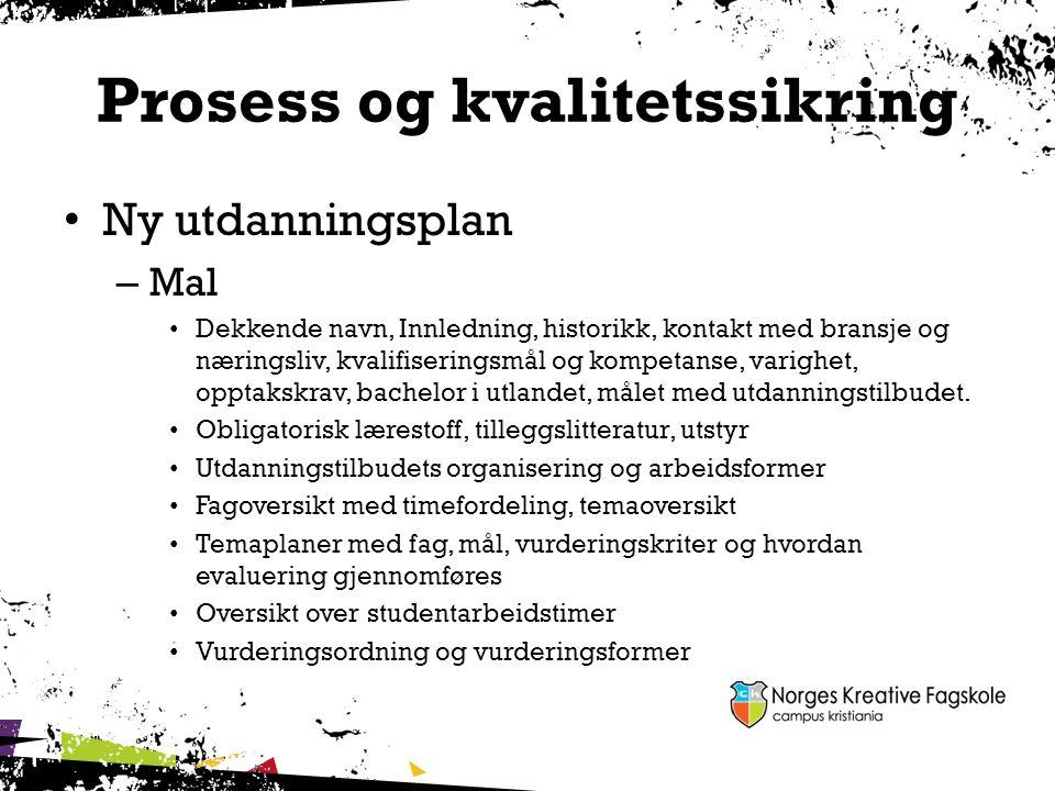 Prosess og kvalitetssikring Ny utdanningsplan – Mal Dekkende navn, Innledning, historikk, kontakt med bransje og næringsliv, kvalifiseringsmål og komp