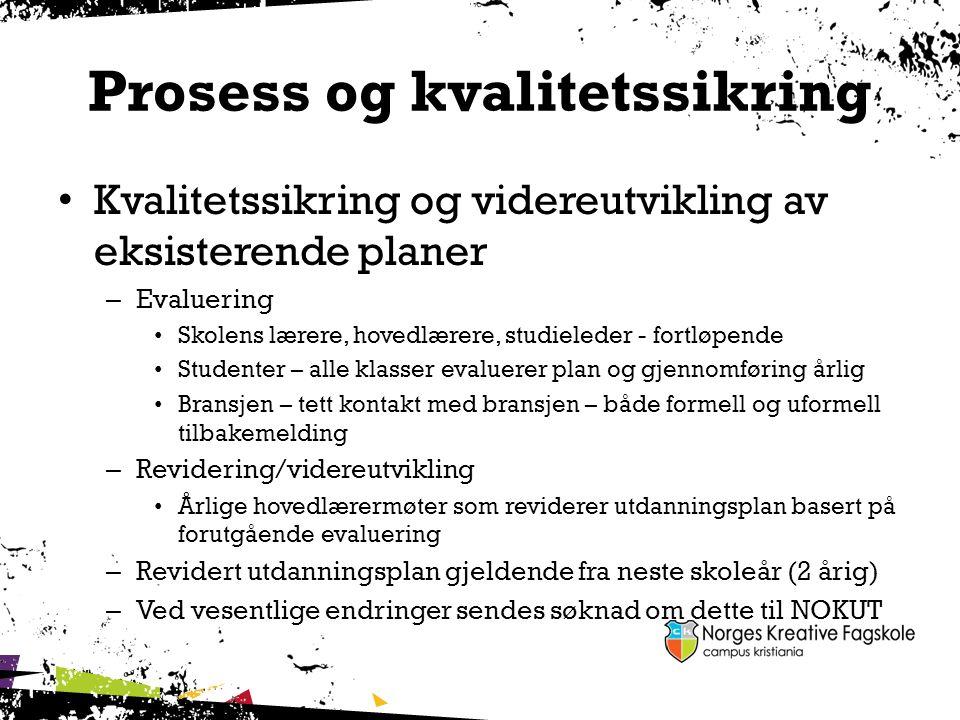 Prosess og kvalitetssikring Kvalitetssikring og videreutvikling av eksisterende planer – Evaluering Skolens lærere, hovedlærere, studieleder - fortløp