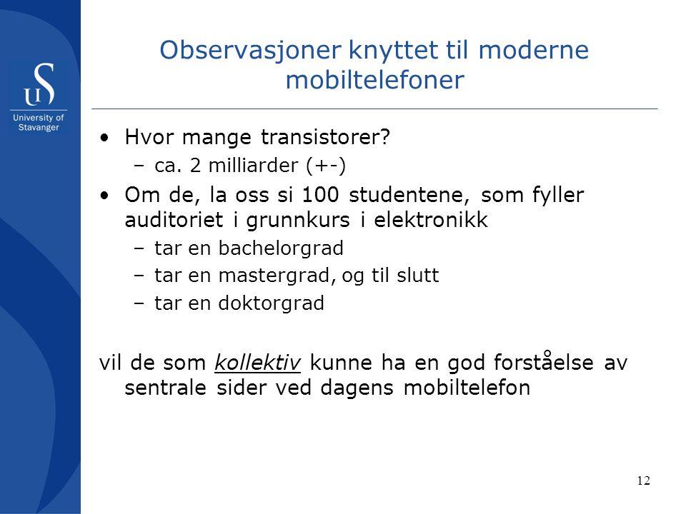 12 Observasjoner knyttet til moderne mobiltelefoner Hvor mange transistorer.