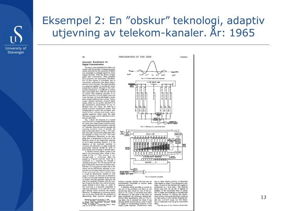 13 Eksempel 2: En obskur teknologi, adaptiv utjevning av telekom-kanaler. År: 1965