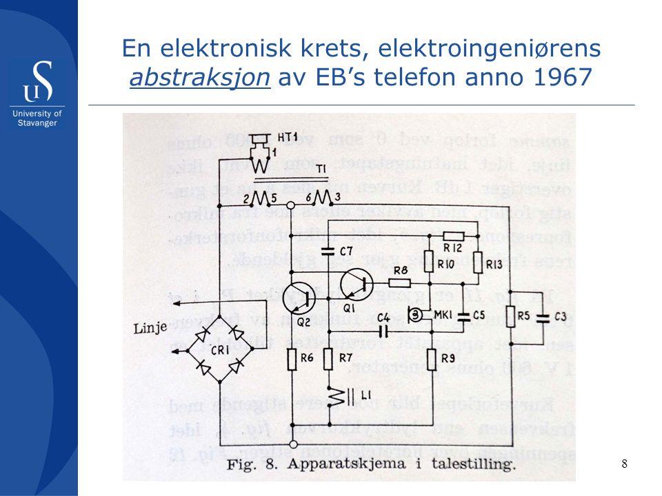 8 En elektronisk krets, elektroingeniørens abstraksjon av EB's telefon anno 1967