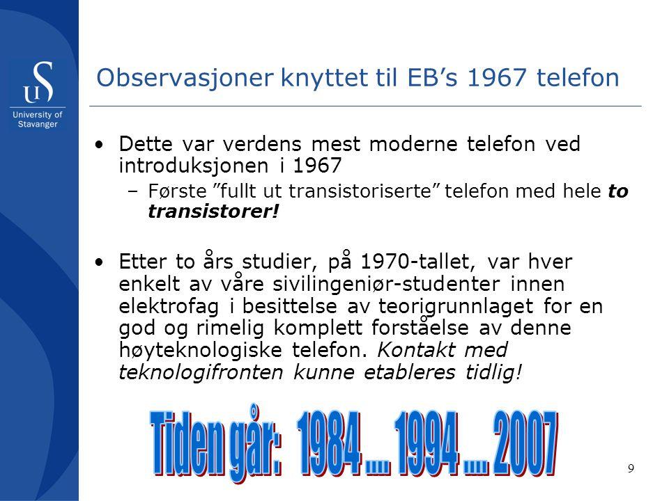 9 Observasjoner knyttet til EB's 1967 telefon Dette var verdens mest moderne telefon ved introduksjonen i 1967 –Første fullt ut transistoriserte telefon med hele to transistorer.