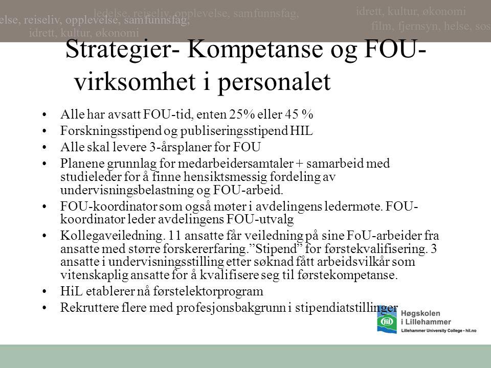 Strategier- Kompetanse og FOU- virksomhet i personalet Alle har avsatt FOU-tid, enten 25% eller 45 % Forskningsstipend og publiseringsstipend HIL Alle skal levere 3-årsplaner for FOU Planene grunnlag for medarbeidersamtaler + samarbeid med studieleder for å finne hensiktsmessig fordeling av undervisningsbelastning og FOU-arbeid.