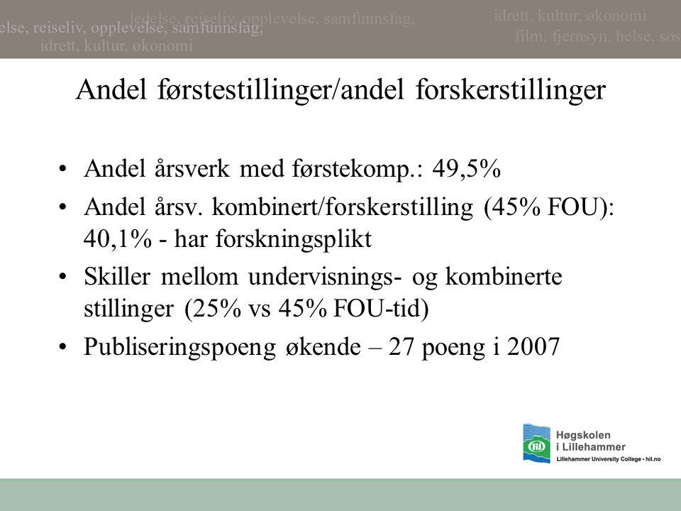 Andel førstestillinger/andel forskerstillinger Andel årsverk med førstekomp.: 49,5% Andel årsv.