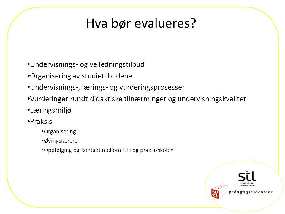 Hva bør evalueres? Undervisnings- og veiledningstilbud Organisering av studietilbudene Undervisnings-, lærings- og vurderingsprosesser Vurderinger run