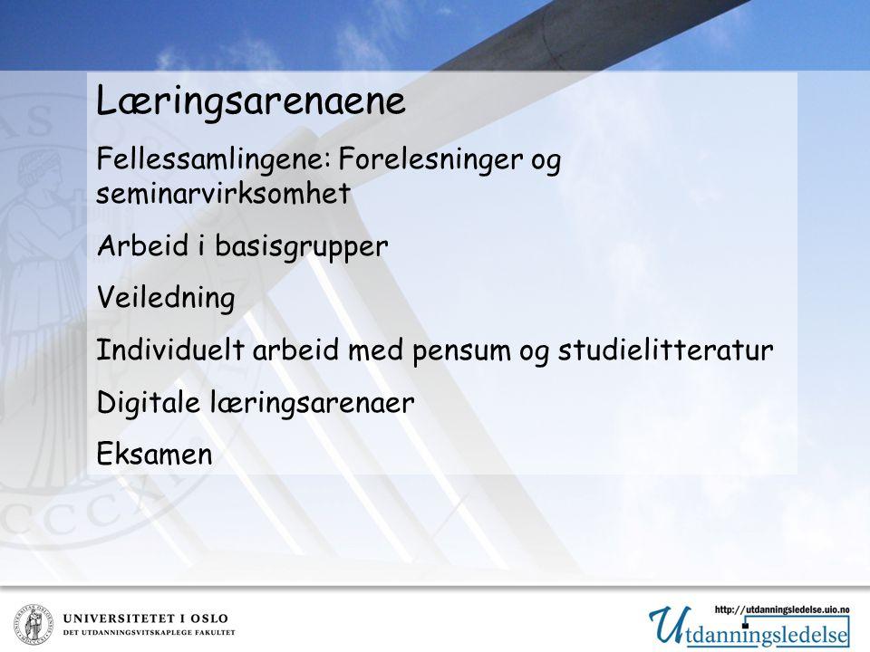 Læringsarenaene Fellessamlingene: Forelesninger og seminarvirksomhet Arbeid i basisgrupper Veiledning Individuelt arbeid med pensum og studielitteratur Digitale læringsarenaer Eksamen