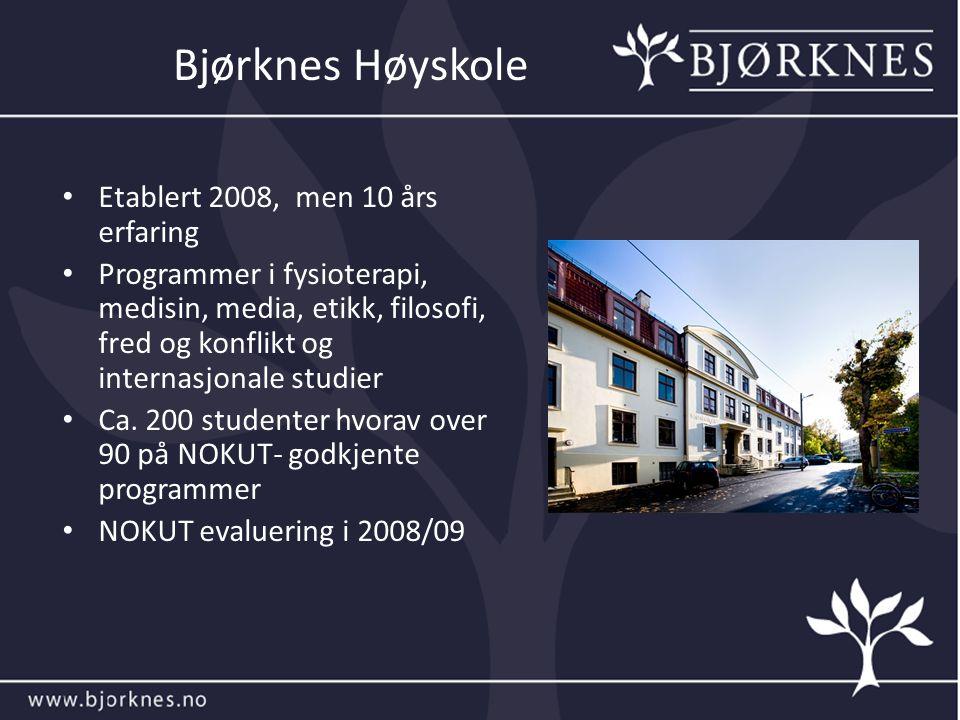 Bjørknes Høyskole Etablert 2008, men 10 års erfaring Programmer i fysioterapi, medisin, media, etikk, filosofi, fred og konflikt og internasjonale studier Ca.