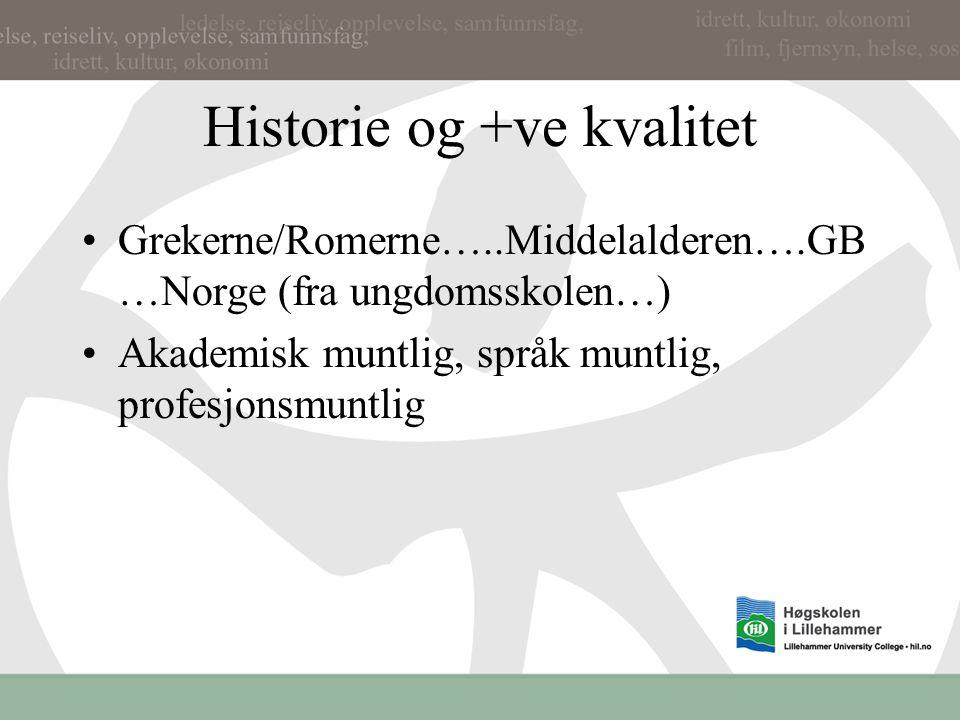 Historie og +ve kvalitet Grekerne/Romerne…..Middelalderen….GB …Norge (fra ungdomsskolen…) Akademisk muntlig, språk muntlig, profesjonsmuntlig