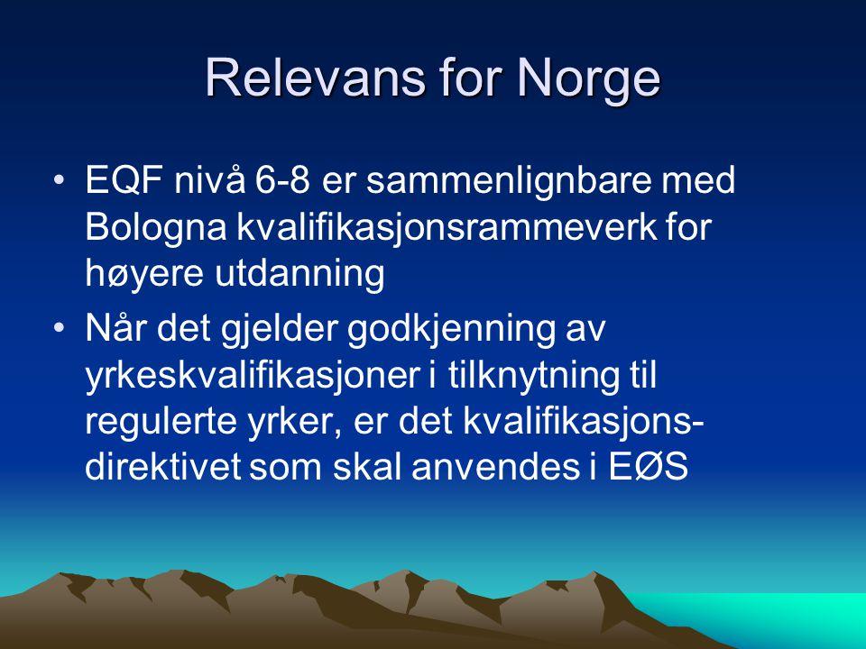 Relevans for Norge EQF nivå 6-8 er sammenlignbare med Bologna kvalifikasjonsrammeverk for høyere utdanning Når det gjelder godkjenning av yrkeskvalifikasjoner i tilknytning til regulerte yrker, er det kvalifikasjons- direktivet som skal anvendes i EØS