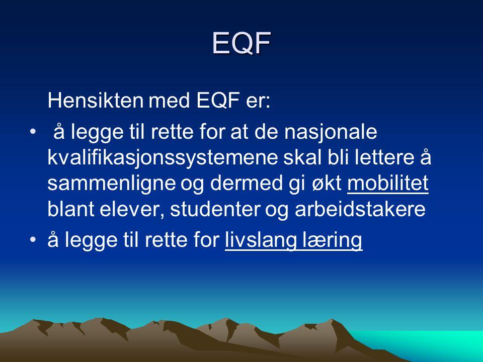EQF Hensikten med EQF er: å legge til rette for at de nasjonale kvalifikasjonssystemene skal bli lettere å sammenligne og dermed gi økt mobilitet blant elever, studenter og arbeidstakere å legge til rette for livslang læring