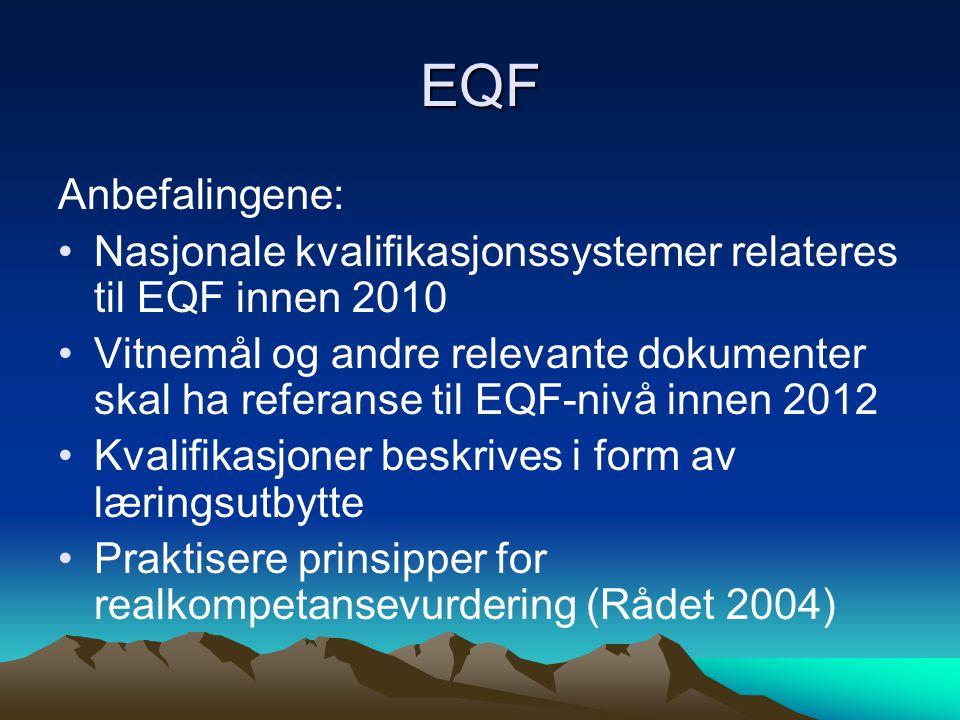 EQF Anbefalingene: Nasjonale kvalifikasjonssystemer relateres til EQF innen 2010 Vitnemål og andre relevante dokumenter skal ha referanse til EQF-nivå innen 2012 Kvalifikasjoner beskrives i form av læringsutbytte Praktisere prinsipper for realkompetansevurdering (Rådet 2004)