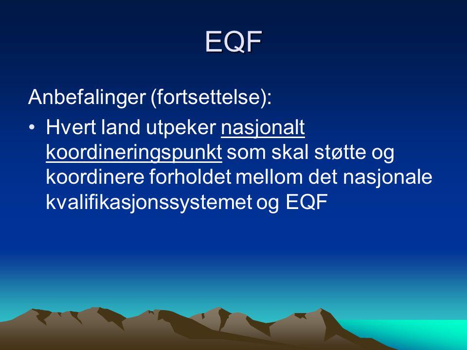 EQF Anbefalinger (fortsettelse): Hvert land utpeker nasjonalt koordineringspunkt som skal støtte og koordinere forholdet mellom det nasjonale kvalifikasjonssystemet og EQF