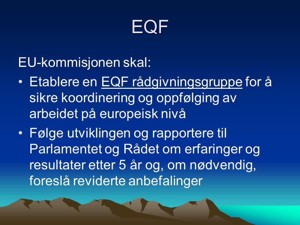 EQF EU-kommisjonen skal: Etablere en EQF rådgivningsgruppe for å sikre koordinering og oppfølging av arbeidet på europeisk nivå Følge utviklingen og rapportere til Parlamentet og Rådet om erfaringer og resultater etter 5 år og, om nødvendig, foreslå reviderte anbefalinger
