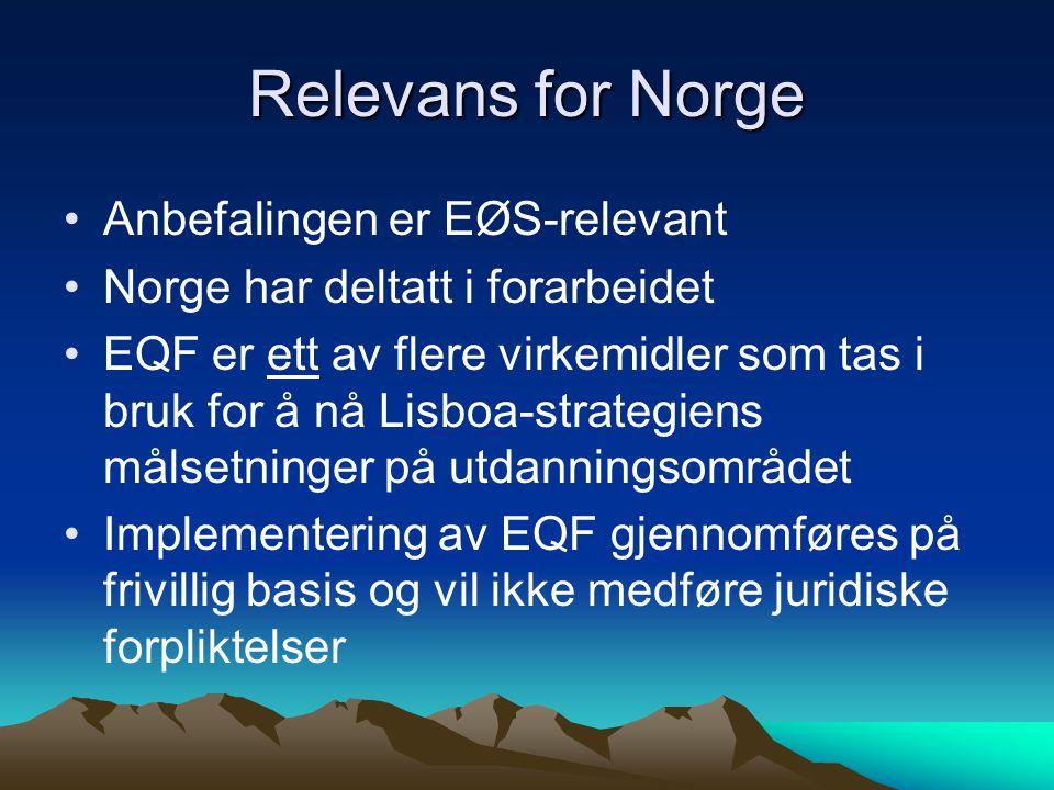 Relevans for Norge Anbefalingen er EØS-relevant Norge har deltatt i forarbeidet EQF er ett av flere virkemidler som tas i bruk for å nå Lisboa-strategiens målsetninger på utdanningsområdet Implementering av EQF gjennomføres på frivillig basis og vil ikke medføre juridiske forpliktelser
