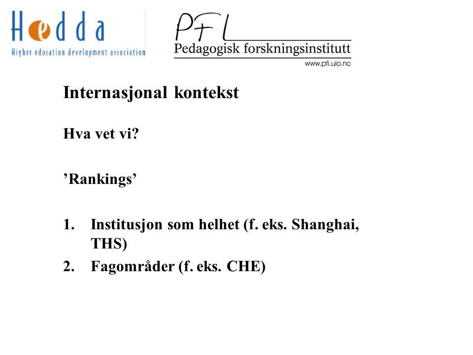 Internasjonal kontekst Hva vet vi. 'Rankings' 1.Institusjon som helhet (f.