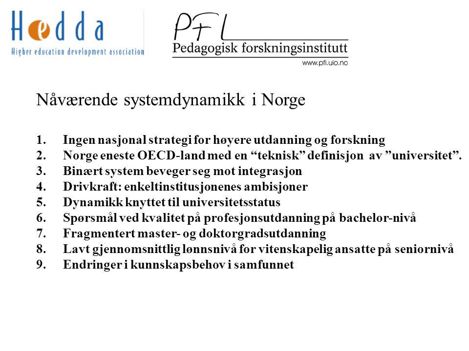 Nåværende systemdynamikk i Norge 1. Ingen nasjonal strategi for høyere utdanning og forskning 2.