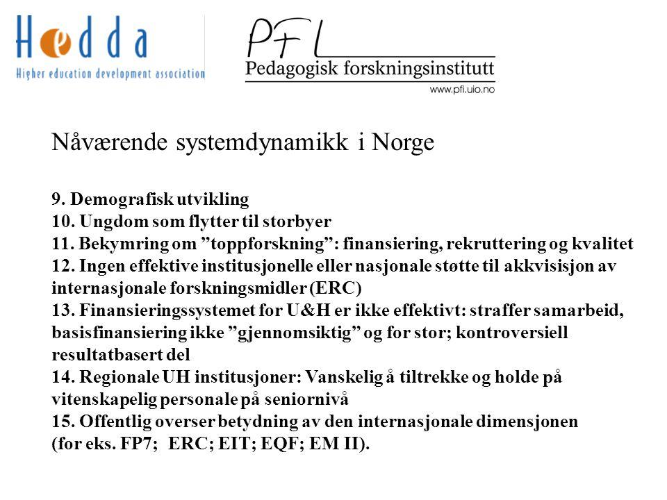 Nåværende systemdynamikk i Norge 9. Demografisk utvikling 10.