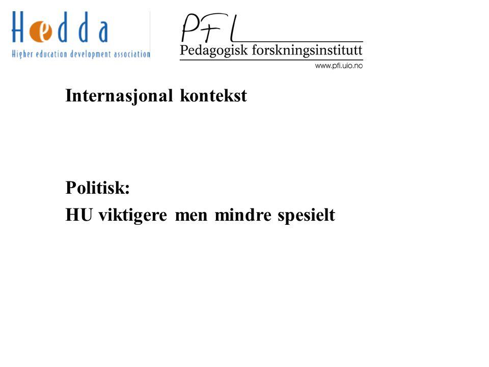 Internasjonal kontekst Politisk: HU viktigere men mindre spesielt