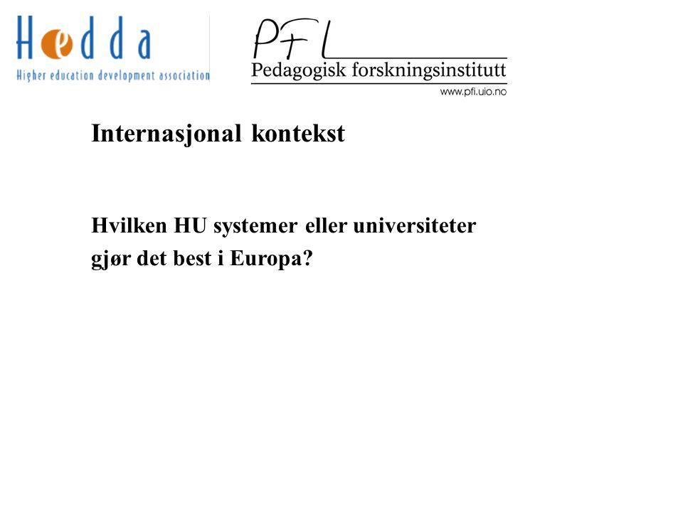 Internasjonal kontekst Hvilken HU systemer eller universiteter gjør det best i Europa