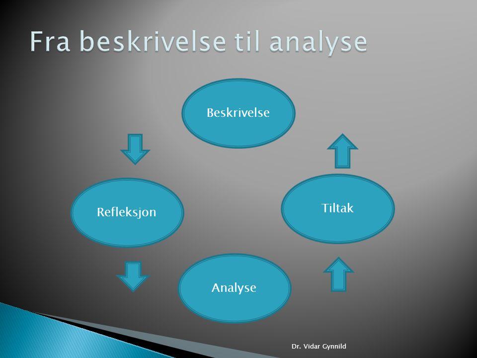 Dr. Vidar Gynnild Beskrivelse Refleksjon Tiltak Analyse