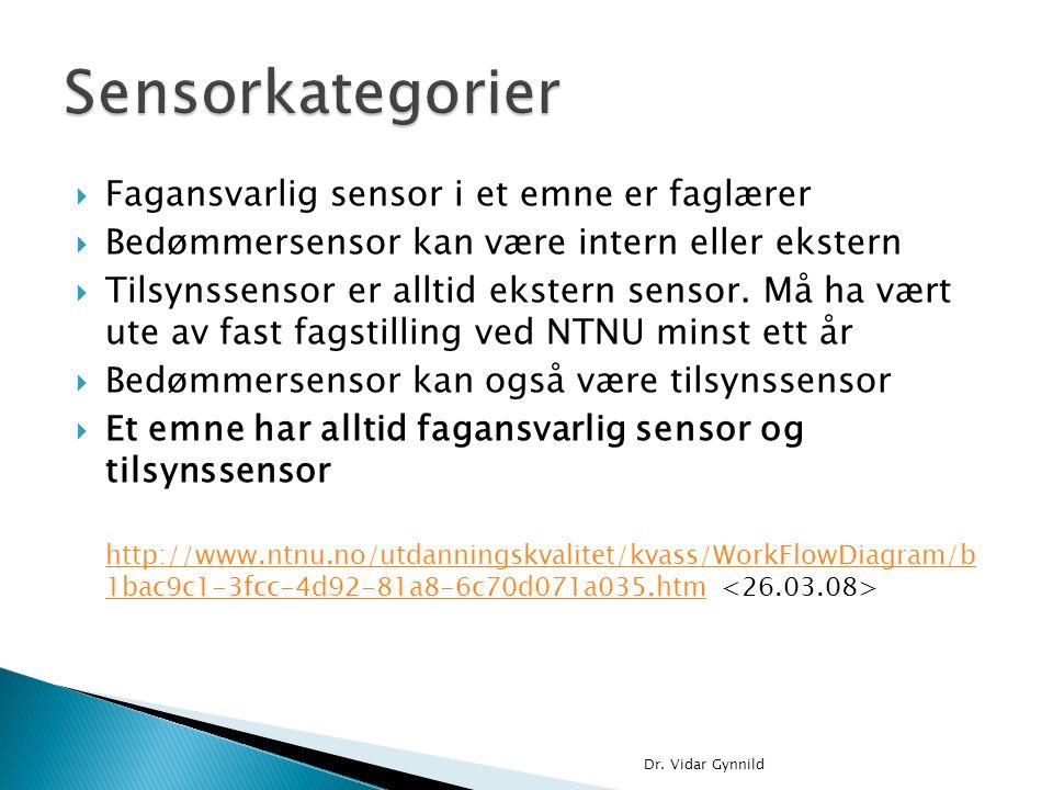  Fagansvarlig sensor i et emne er faglærer  Bedømmersensor kan være intern eller ekstern  Tilsynssensor er alltid ekstern sensor. Må ha vært ute av