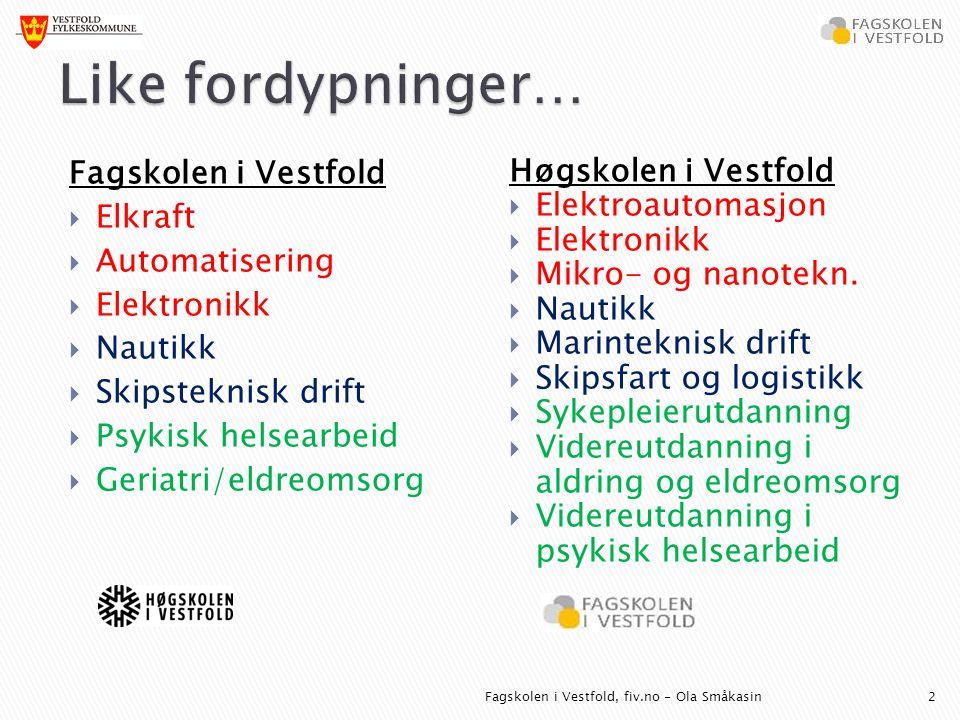 Fagskolen i Vestfold  Elkraft  Automatisering  Elektronikk  Nautikk  Skipsteknisk drift  Psykisk helsearbeid  Geriatri/eldreomsorg Høgskolen i Vestfold  Elektroautomasjon  Elektronikk  Mikro- og nanotekn.