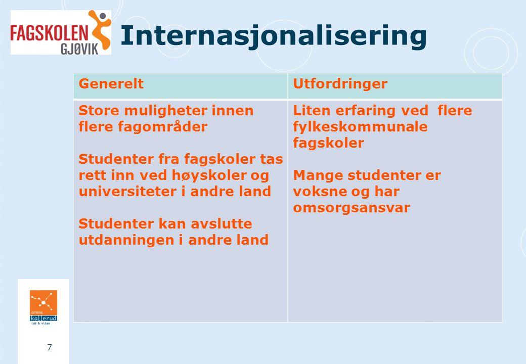 Internasjonalisering 7 GenereltUtfordringer Store muligheter innen flere fagområder Studenter fra fagskoler tas rett inn ved høyskoler og universiteter i andre land Studenter kan avslutte utdanningen i andre land Liten erfaring ved flere fylkeskommunale fagskoler Mange studenter er voksne og har omsorgsansvar