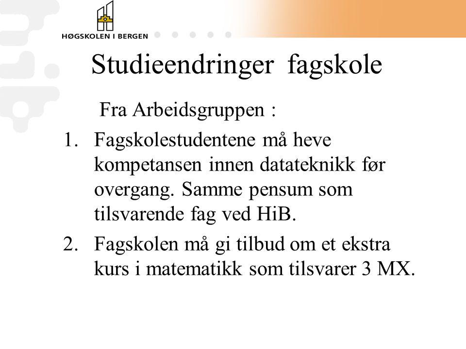 Studieendringer fagskole Fra Arbeidsgruppen : 1.Fagskolestudentene må heve kompetansen innen datateknikk før overgang.
