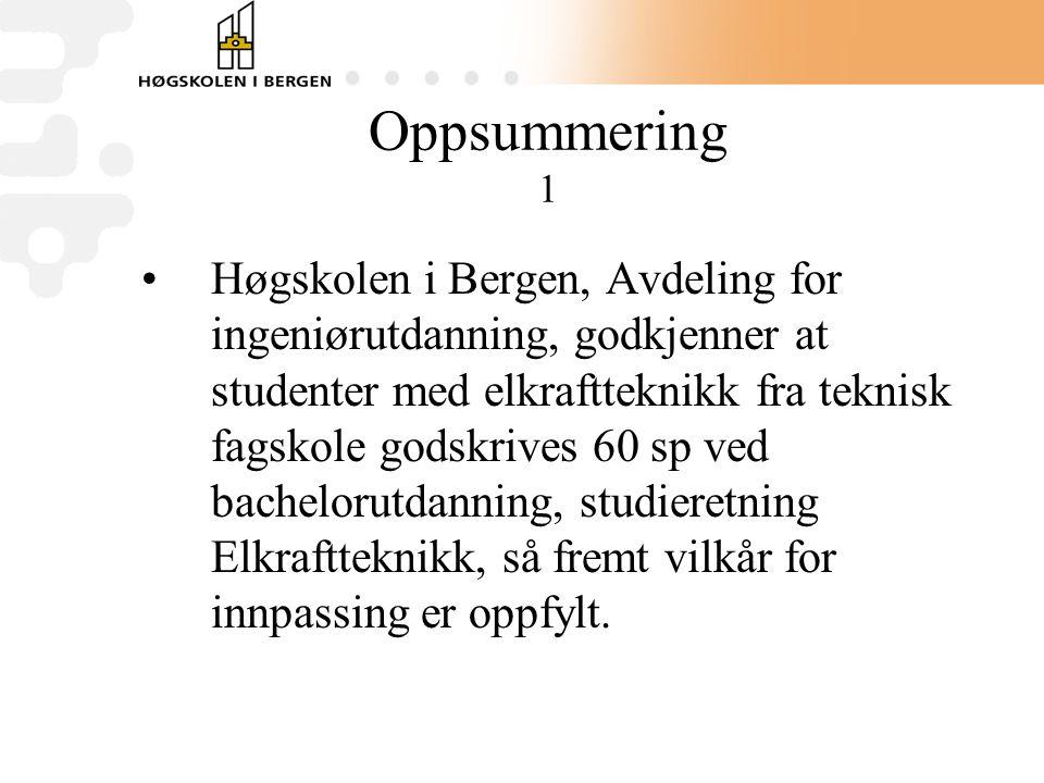 Oppsummering 1 Høgskolen i Bergen, Avdeling for ingeniørutdanning, godkjenner at studenter med elkraftteknikk fra teknisk fagskole godskrives 60 sp ved bachelorutdanning, studieretning Elkraftteknikk, så fremt vilkår for innpassing er oppfylt.