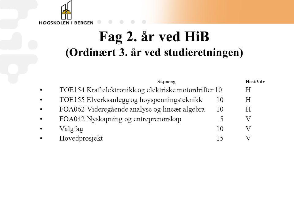 Fag 2.år ved HiB (Ordinært 3.
