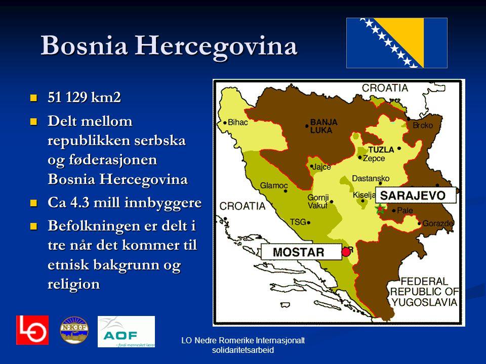 LO Nedre Romerike Internasjonalt solidaritetsarbeid Bosnia Hercegovina 51 129 km2 51 129 km2 Delt mellom republikken serbska og føderasjonen Bosnia He