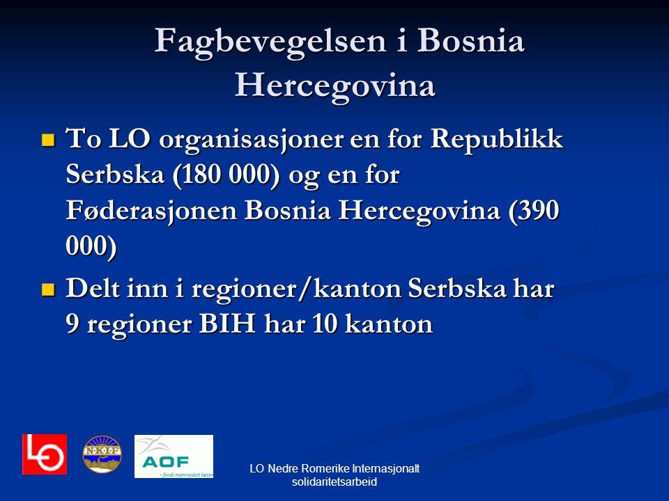 LO Nedre Romerike Internasjonalt solidaritetsarbeid Fagbevegelsen i Bosnia Hercegovina Fagbevegelsen i Bosnia Hercegovina To LO organisasjoner en for
