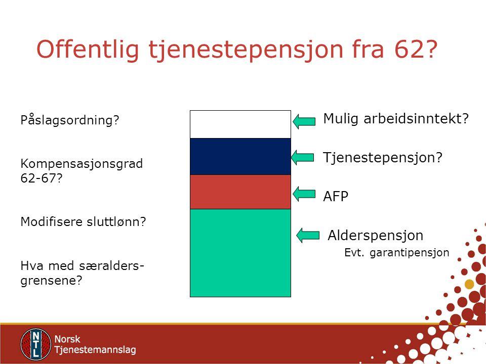 Offentlig tjenestepensjon fra 62? Påslagsordning? Kompensasjonsgrad 62-67? Modifisere sluttlønn? Hva med særalders- grensene? Mulig arbeidsinntekt? Tj
