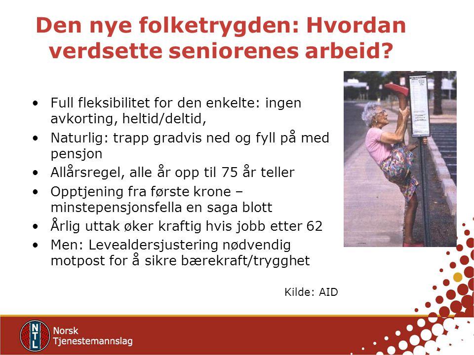 Den nye folketrygden: Hvordan verdsette seniorenes arbeid? Full fleksibilitet for den enkelte: ingen avkorting, heltid/deltid, Naturlig: trapp gradvis