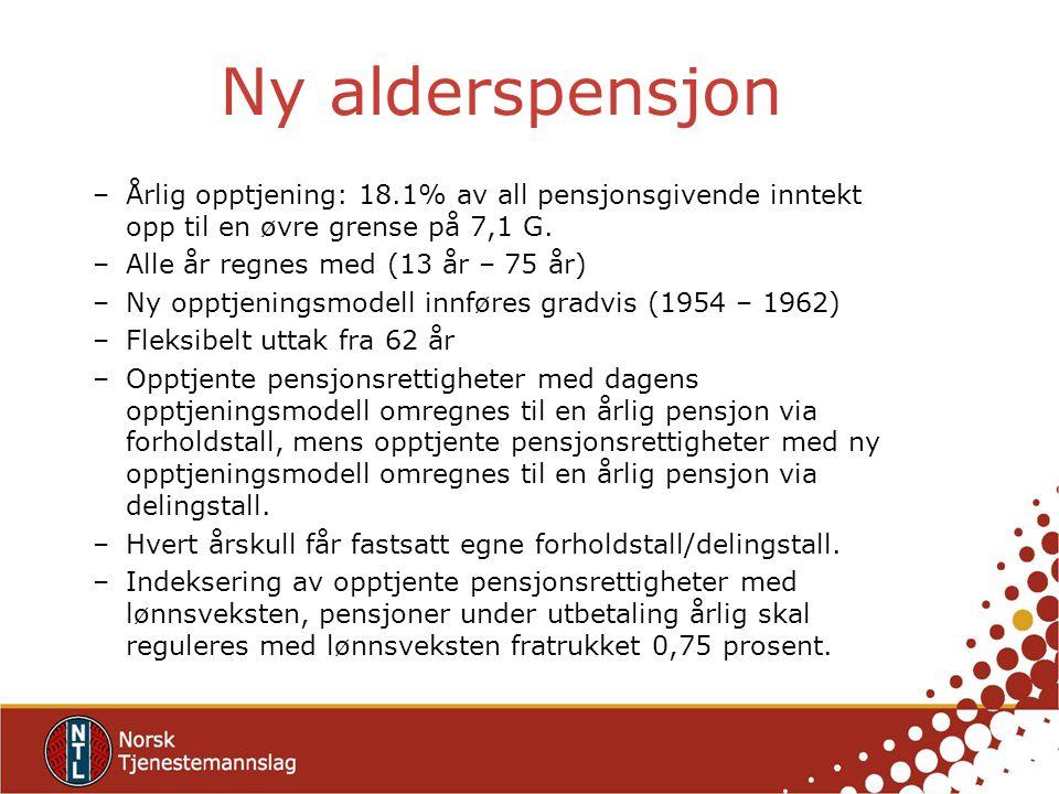 Ny alderspensjon –Årlig opptjening: 18.1% av all pensjonsgivende inntekt opp til en øvre grense på 7,1 G. –Alle år regnes med (13 år – 75 år) –Ny oppt